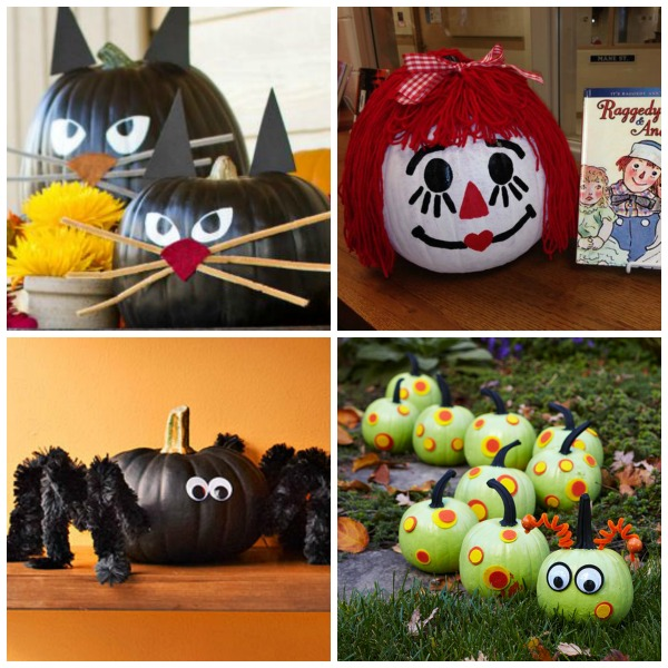 25+ no-carve pumpkin decorating ideas for kids.  Tons of ideas I've never seen before!