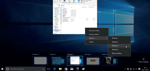 Come gestire Desktop Virtuali su Windows 10 (scorciatoie tastiera) finestre