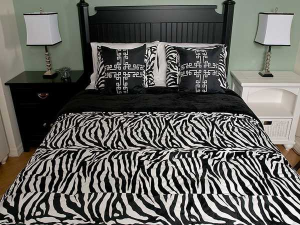 zebra print bedroom ideas with black and white furniture