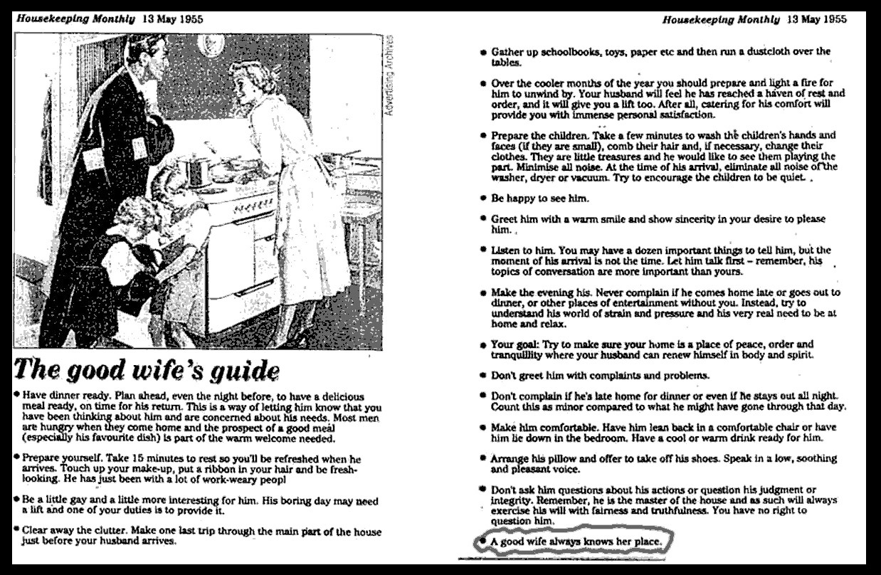 How to be a good wife 1950s textbook