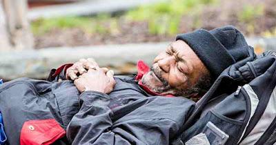Black homeless man