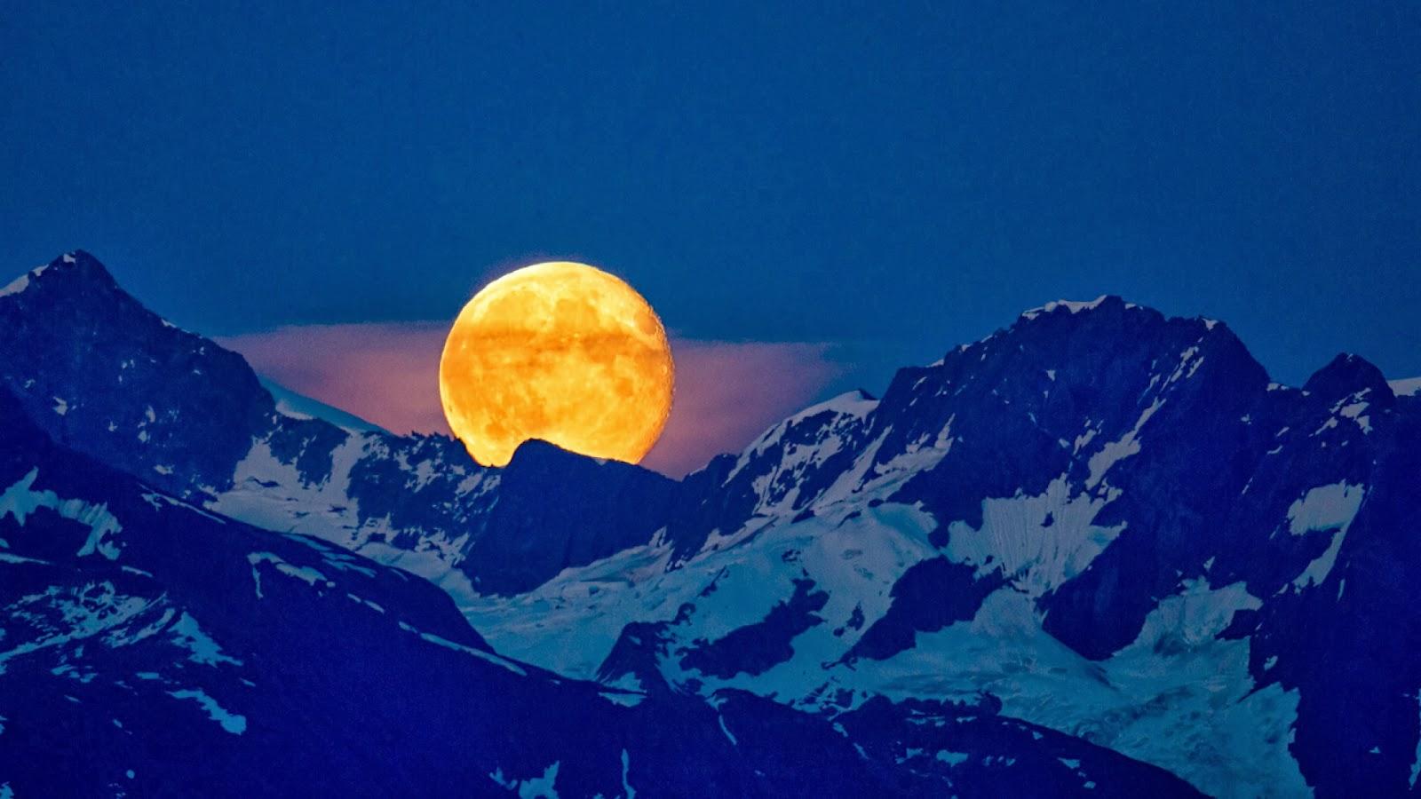 Fondo De Pantalla Paisaje Montañas Nevada: Imagenes Hilandy: Fondo De Pantalla Paisaje Luna Encima De