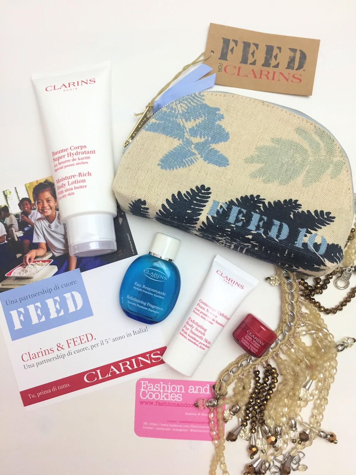 Clarins & FEED: la trousse in edizione limitata per aiutare i bambini su Fashion and Cookies beauty blog, beauty blogger