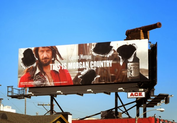 Captain Morgan cannonball hole billboard