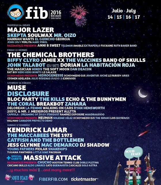 FIB, 2016, Benicassim, Festival, Música, cartel
