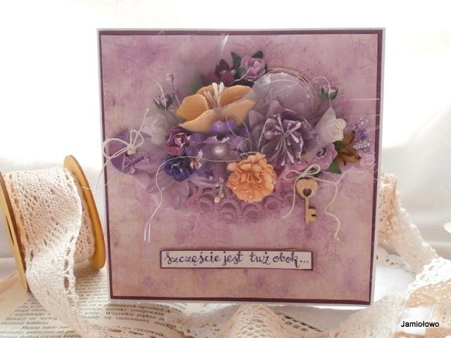 wielowarstwowa kartka w fioletach