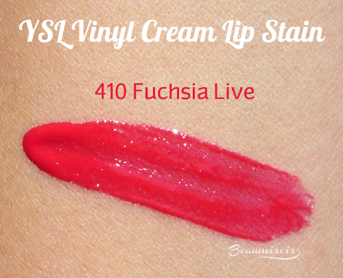 YSL Vinyl Cream Lip Stain: swatch of 410 Fuchsia Live