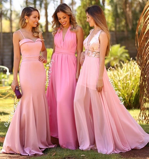 madrinhas de vestido rosa claro