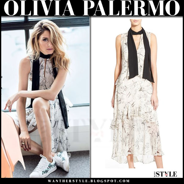 Olivia Palermo in white floral print dress, black scarf and white sneakers allure august 2016 what she wore