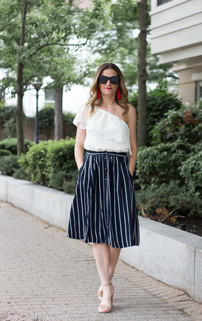 Button Front Midi Skirt #midiskirt