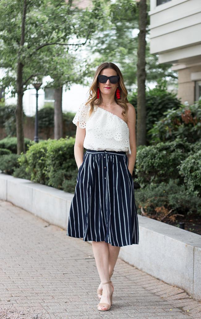 Button Front Midi Skirt #midiskirt