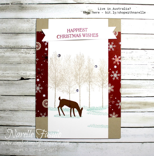 Create gorgeous scenes like this with the Winter Woods stamp set. See it here - http://bit.ly/WinterWoodsStampSet