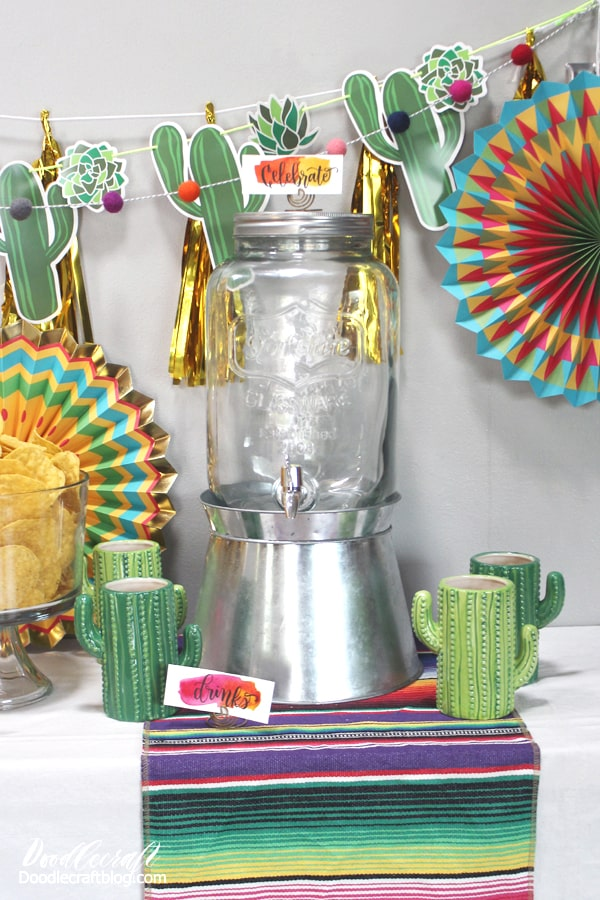 The perfect fiesta party with ceramic cactus tumblers and drink beverage dispenser.