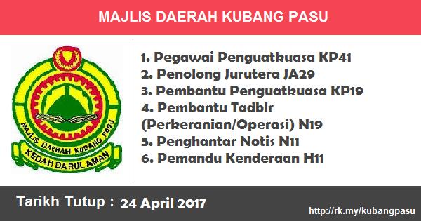 Jawatan Kosong di Majlis Daerah Kubang Pasu