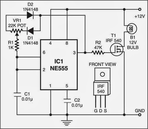simple dome lamp dimmer circuit diagram