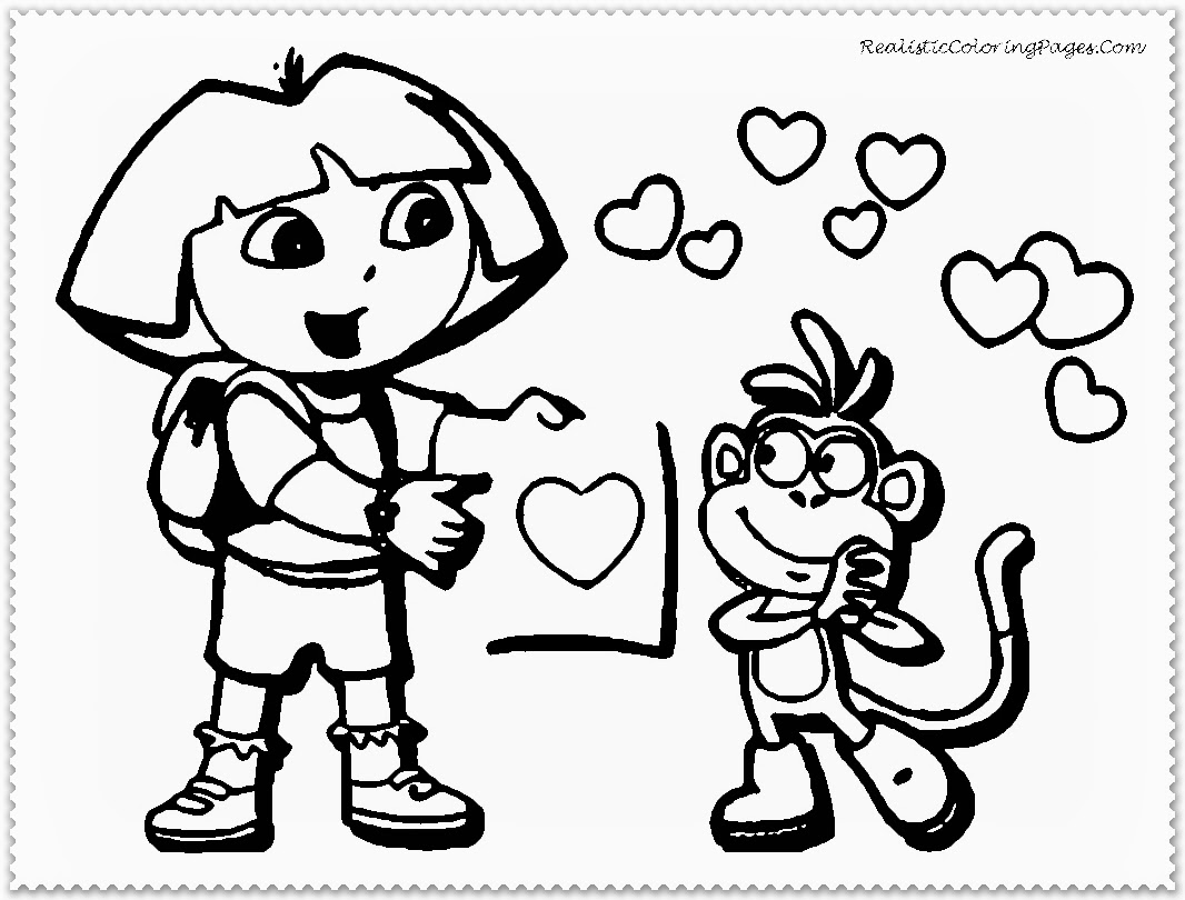 Dora And Boot Valentine Cartoon Coloring Pages