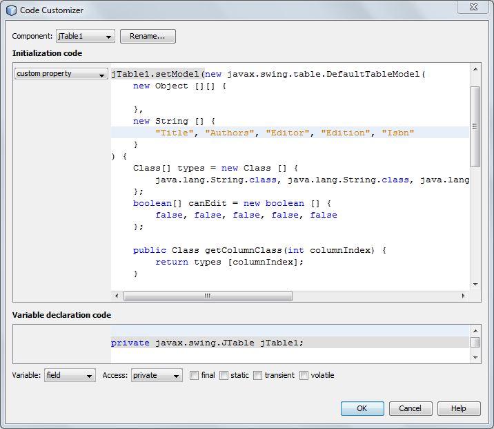 Java table editor
