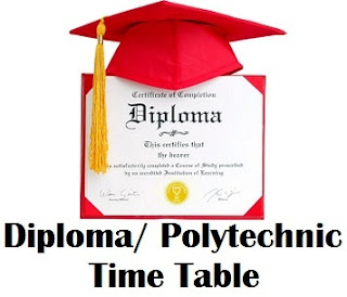 Polytechnic/ Diploma Exam Time Table 2017 Download