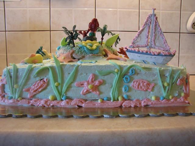 τούρτα με σαντιγή και ζαχαρόπαστα με θέμα βυθός της θάλασσας