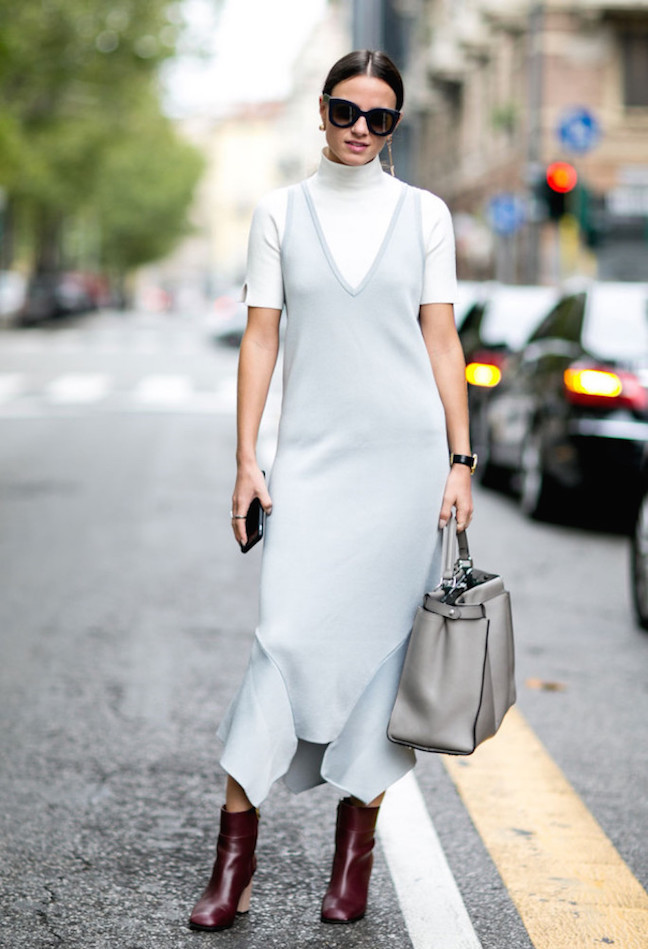 Turtleneck under dress street style