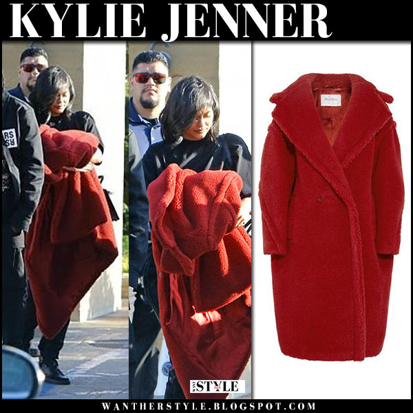 887288f4b87 Kylie Jenner in red teddy coat max mara pappino street fashion february 25