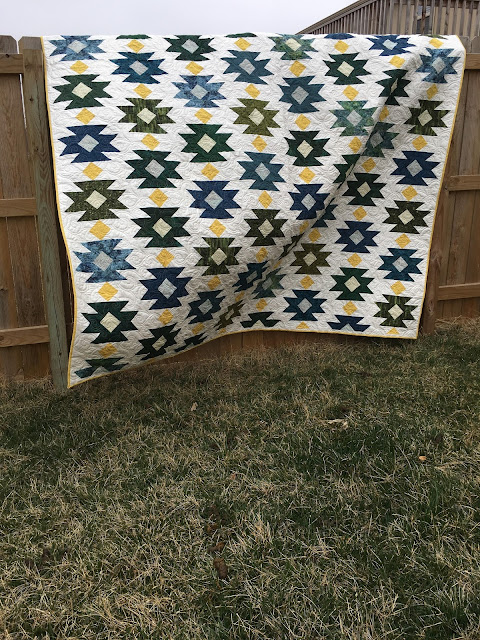 Cluck Cluck Sew Tahoe Quilt pattern in blues and greens
