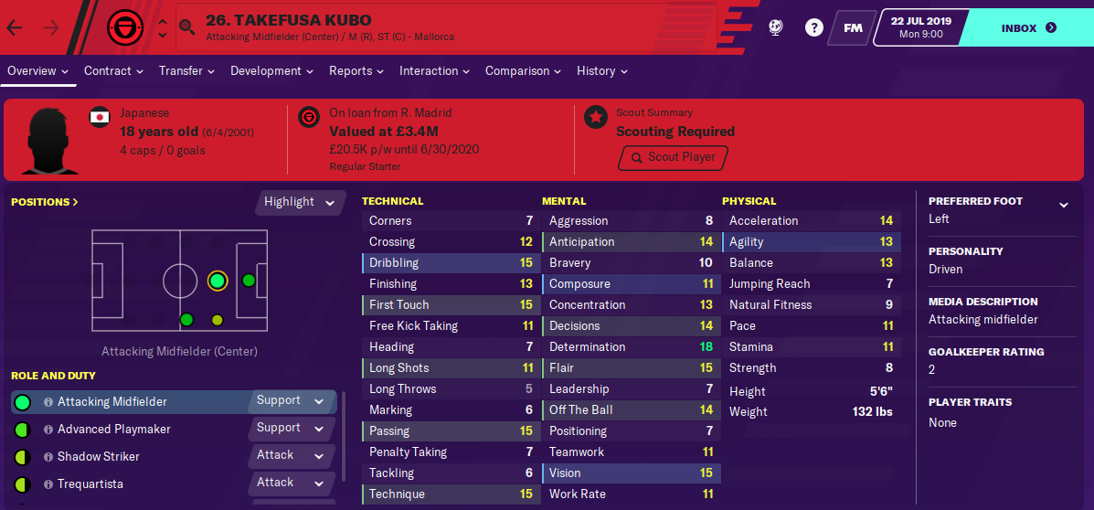 Takefusa Kubo: Starting Attributes in FM2020