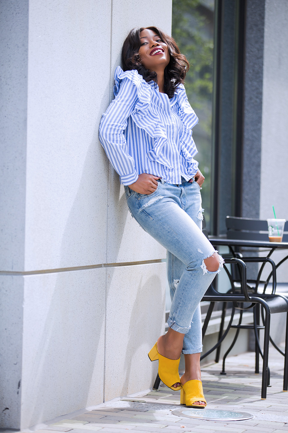 Ruffle blouse, express girlfriend jeans, topshop mules, www.jadore-fashion.com