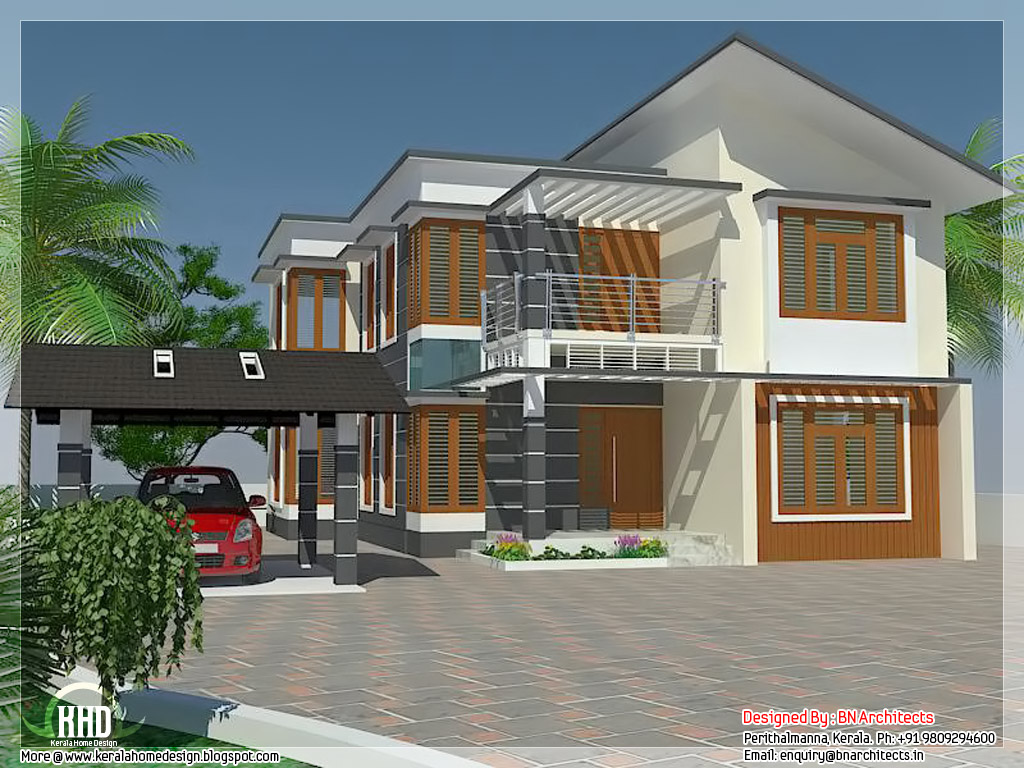 4 bedroom house elevation with free floor plan kerala for Elevation house plans