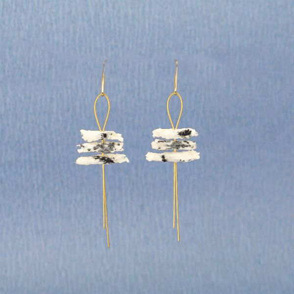 black and cream paper pulp cylinder earrings on gold wire