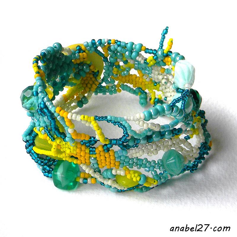 Яркий фриформ-браслет из бисера - бирюзовый с жёлтым - бохо украшения