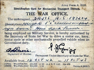 army form A2038 driver ID card WW2
