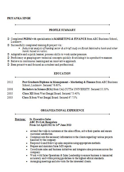 mba marketing amp finance resume sample doc
