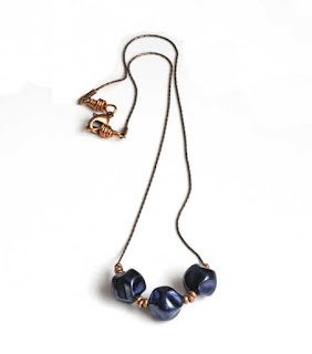 Navy Blue Floating Bead Necklace