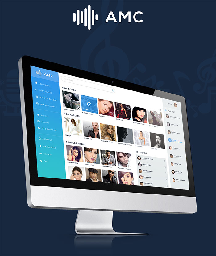 Arabic Music Dashboard Design Free PSD