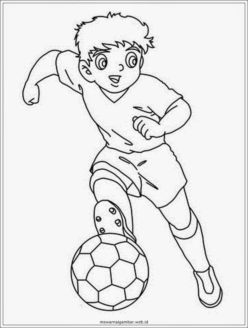 Gambar Mewarnai Gambar Pemain Sepakbola Sepak Bola Di