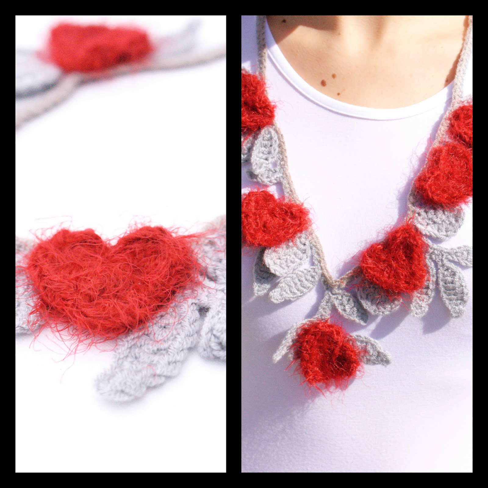 Crocheted necklace with red hearts   Πλεκτό κολιέ με κόκκινες καρδιές c8cb43db51f
