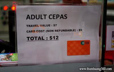 Thẻ Ez-link card có giá 12$ đô Sing