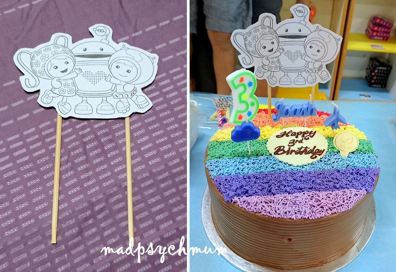 Left Printed A Picture Of Team Umizoomi And Stuck Chopsticks At The Back Right Final Rainbow Cake From Prima Deli With All Decorations