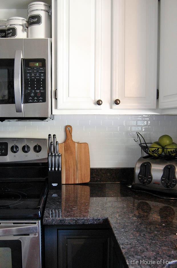 Stick On Backsplash Tiles For Kitchen Whisk Electric Update Smart Tile Little House Of Four After Adding Peel And