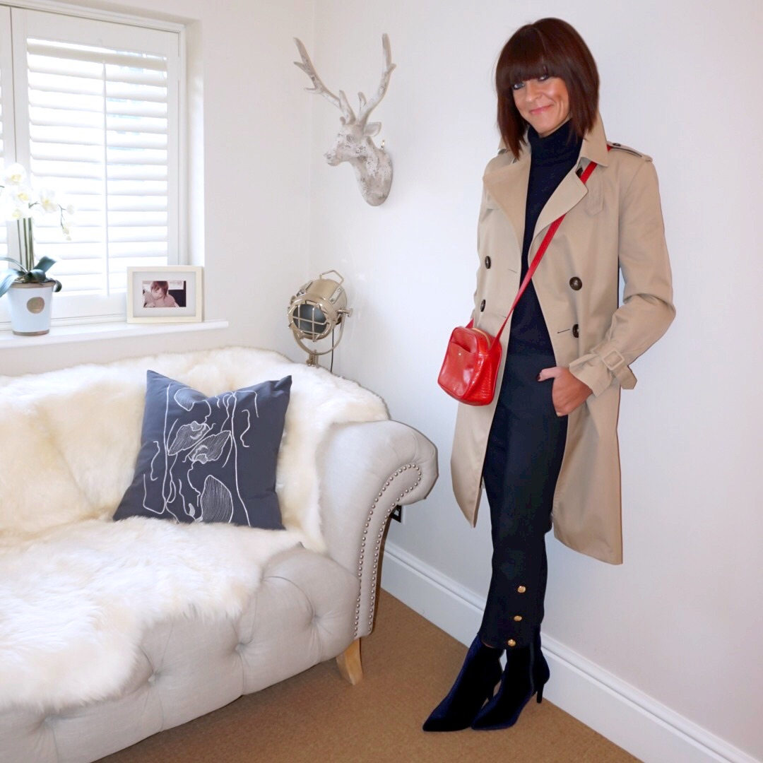 My Midlife fashion, massimo dutti trench coat, utterque mock croc crossbody bag, zara gold button trousers, marks and spencer pure cashmere roll neck jumper, marks and spencer stiletto side zip ankle boots