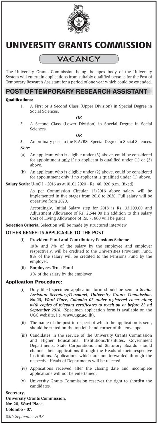 Temporary Research Assistant – University of Grants Commission