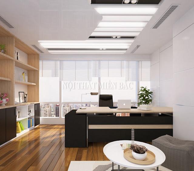 Thiết kế văn phòng giám đốc với chiếc bàn đẳng cấp là sự kết hợp giữa 2 gam màu trắng và đen đẳng cấp như mang đến cho không gian sự chuyên nghiệp