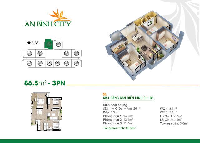 Mặt bằng thiết kế căn hộ 3 ngủ 86m2 An Bình City
