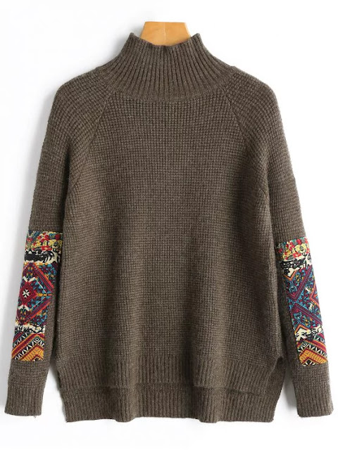 Patch High Neck Sweater - Coffee