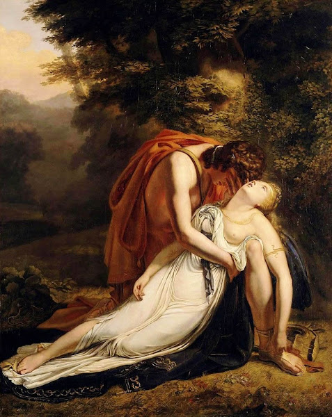 Orpheus Mourning the Death of Eurydice by Ary Scheffer, Macabre Paintings, Horror Paintings, Freak Art, Freak Paintings, Horror Picture, Terror Pictures
