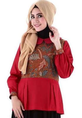 model atasan batik wanita muslimah gaya berhijab