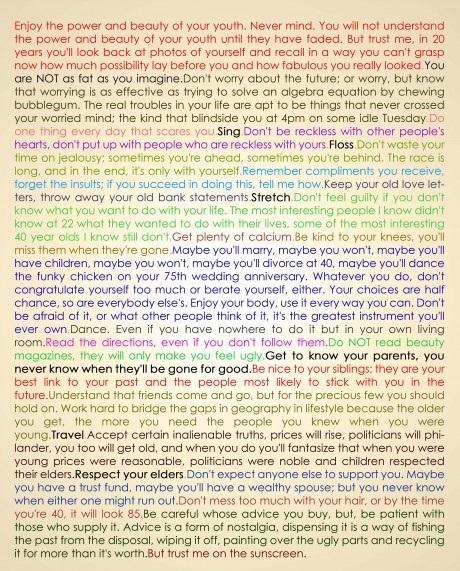 mary schmich essay 1997