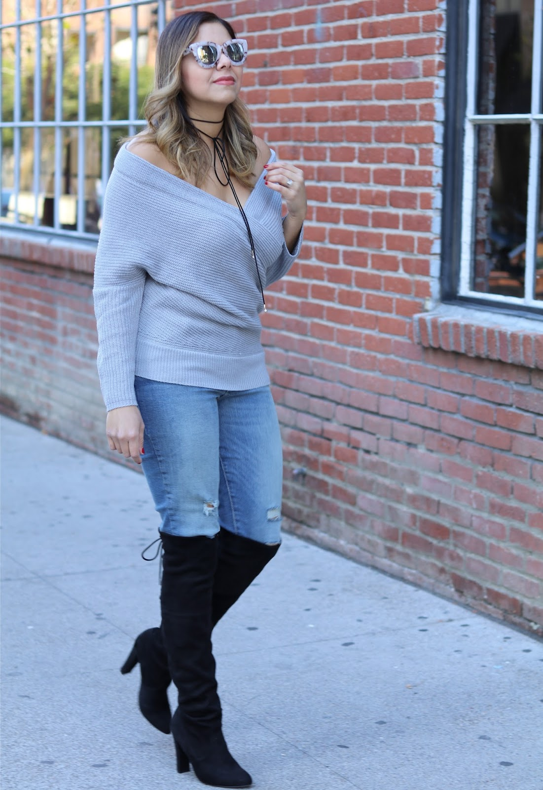 Winter Casual Outfit, what to wear to dinner, steve madden gleemer boot