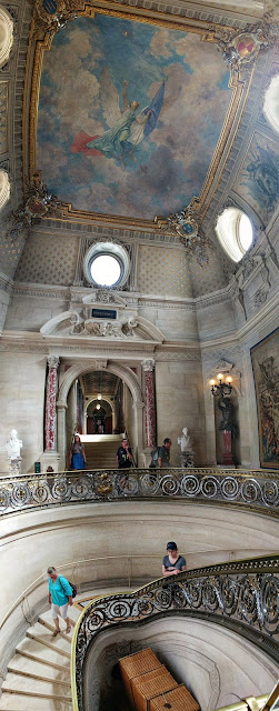 Cool Spiral Staircase and Painted Ceiling in Chantilly Castle